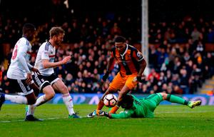 Hull City's Abel Hernandez wins a second penalty after being brought down by Fulham goalkeeper Marcus Bettinelli. Photo credit: Paul Harding/PA Wire