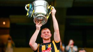 Kilkenny captain Adrian Mullen lifts the Bob O'Keeffe Cup following their Leinster Senior Hurling Championship final win over Dublin at Croke Park in Dublin. Photo: Stephen McCarthy/Sportsfile