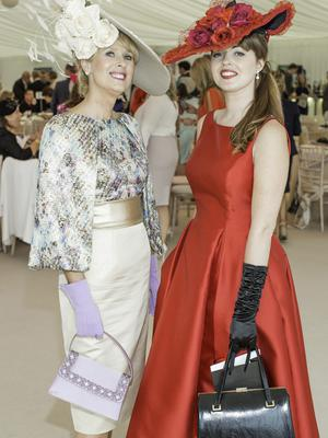Claire Murphy & Stacy Caldwell pictured at the 150th Dubai Duty Free Irish Derby at the Curragh Racecourse on Saturday 27th June. Photo Anthony Woods.