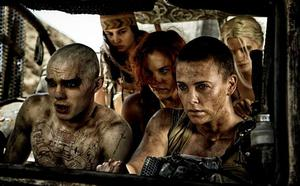 Nicholas Hoult as Nux and Charlize Theron as Furiosa in Mad Max: Fury's Road. Photo: Warner Bros./Village Roadshow Films