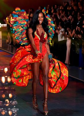 Model Jasmine Tookes presents a creation during the 2015 Victoria's Secret Fashion Show in New York