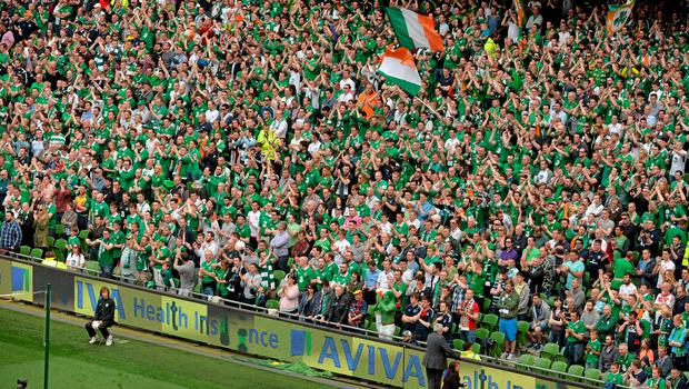 13 June 2015; Republic of Ireland supporters cheer on their side during the game. UEFA EURO 2016 Championship Qualifier, Group D, Republic of Ireland v Scotland, Aviva Stadium, Lansdowne Road, Dublin. Picture credit: Brendan Moran / SPORTSFILE