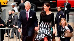 Actors Michael Douglas (L) and Catherine Zeta-Jones attend the 41st Annual Chaplin Award Gala at Avery Fisher Hall at Lincoln Center for the Performing Arts on April 28, 2014 in New York City.  (Photo by Michael Loccisano/Getty Images)