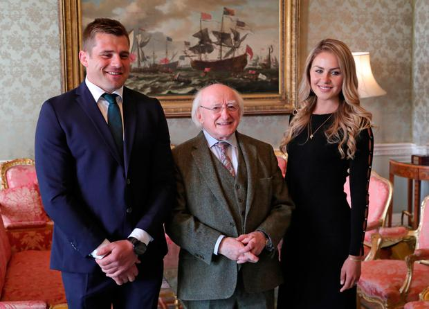 CJ Stander and Jean Marie Stander pictured with President Michael D Higgins this evening for at Aras an Uachtarain for a reception in honour of the Irish Rugby Team's Grand Slam victory. Picture: Colin Keegan, Collins Dublin.