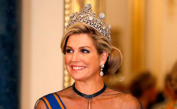 Queen Maxima of the Netherlands wears the Steward Tiara as she attends a State Banquet at Buckingham Palace in London, Britain October 23, 2018. REUTERS/Peter Nicholls/Pool
