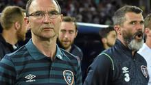 Martin O'Neill with his assistant Roy Keane before Ireland's game against Georgia. Photo: David Maher / SPORTSFILE