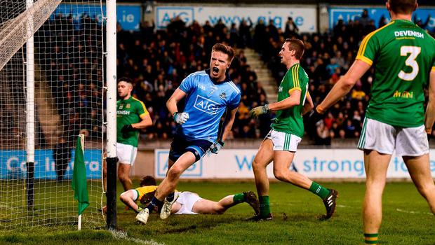 Robbie McDaid of Dublin celebrates after scoring his side's first goal during the Bord na Mona O'Byrne Cup semi-final match between Dublin and Meath at Parnell Park in Dublin. Photo by Sam Barnes/Sportsfile