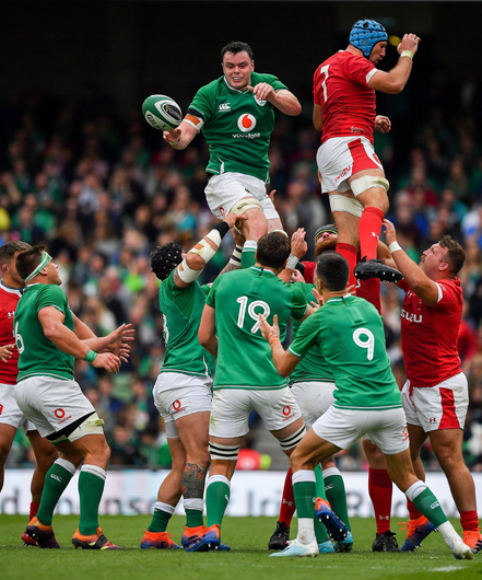 James Ryan of Ireland wins a lineout from Justin Tipuric of Wales during the Guinness Summer Series match between Ireland and Wales at Aviva Stadium in Dublin. Photo by Brendan Moran/Sportsfile