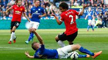 Rafael reacts after bringing down Jamie Varley in the penalty area. Photo credit: Clive Rose/Getty Images