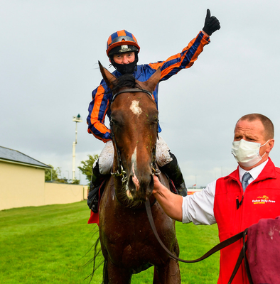 Jockey Seamie Heffernan celebrates after winning the Dubai Duty Free Irish Derby on Santiago at The Curragh yesterday. Photo: Seb Daly/Sportsfile
