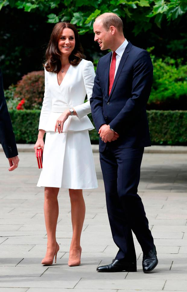 The Duchess of Cambridge and The Duke of Cambridge during a visit to the Presidential Palace in Warsaw, Poland on the first day of their five-day tour of Poland and Germany