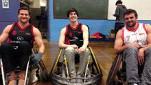 David Ross (centre) with wheelchair rugby team-mates