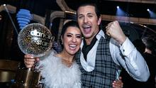 Winners: 2FM presenter Lottie Ryan and dance partner Pasquale La Rocca with the trophy. Photo: Kyran O'Brien