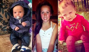 William Halligan, 3 months (L) who was in house during the petrol bomb attack , Roisin Halligan, 11 and Lexi Halligan, 1 (R) injured in the petrol bomb attack on the Halligan home in Ardmore Park, Waterford