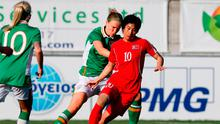 North Korea's Ho Unbyol (right) controls the ball. Photo: Florian Choblet/AFP/Getty Images