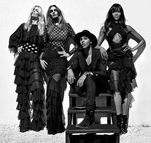 Claudia Schiffer, Cindy Crawford and Naomi Campbell with Balmain Creative Director Olivier Rousteing