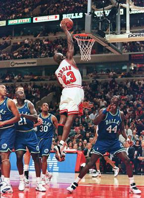Michael Jordan in action for the Chicago Bulls. Photo: Brian Bahr/AFP via Getty Images