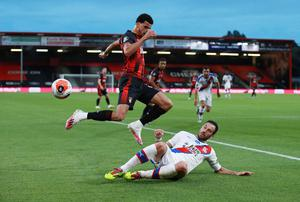 Bournemouth's Dominic Solanke in action with Crystal Palace's Luka Milivojevic. Photo: Ian Walton/Pool via Reuters