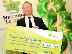 Lotto's Dermot Griffin with the cheque.