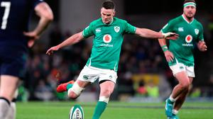 Ireland's Jonathan Sexton misses a penalty during the Guinness Six Nations match at the Aviva Stadium, Dublin. Photo: Niall Carson/PA Wire