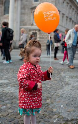 R?iltin Nic R?amoinn age 2, it Trinity College, part of Culture Night 2015 and comprises with hundreds of events across Ireland and overseas.  Picture by Fergal Phillips