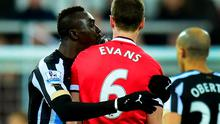 Papiss Cisse and Johnny Evans were involved in a spit spat during Manchester United's victory over Newcastle United
