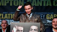 World Featherweight champion Carl Frampton is pictured during a press conference for the WBA World Featherweight title rematch with Leo Santa Cruz at the Europa Hotel on November 29, 2016 in Belfast