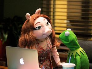 Kermit with new love Denise. PIC: Andrea McCallin/ABC