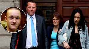 Christopher Fitzpatrick, his sister Christine and Dean's girlfriend, Sarah O'Rourke. Inset: Dean Fitzpatrick.