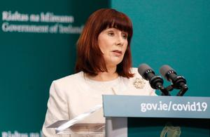 Minister for Culture, Heritage and the Gaeltacht Josepha Madigan in Government Buildings, Dublin, as the media is briefed on the latest measures Government Departments have introduced in response to Covid-19. Photo: Leon Farrell/Photocall Ireland/PA Wire