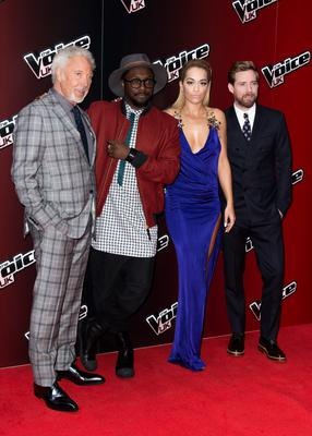 """Sir Tom Jones, Will.i.am, Ricky Wilson and Rita Ora attend the launch of """"The Voice UK"""" Series 4 at The Mondrian Hotel on January 5, 2015 in London, England."""