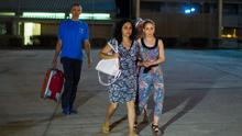 Brett and Naghemeh King, centre and left, leave Soto Del Real prison in Madrid, Spain. (AP Photo/Andres Kudacki)