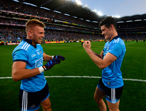 Diarmuid Connolly, right, and Jonny Cooper of Dublin after the GAA Football All-Ireland Senior Championship Final Replay match between Dublin and Kerry at Croke Park in Dublin. Photo by Stephen McCarthy/Sportsfile