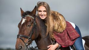 Riding into town: Orla Sheil, from Co Limerick, at the launch of the Ploughing in Fenagh, Co Carlow. Photo: Mark Condren