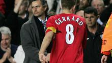Jose Mourinho shakes Steven Gerrard's hand at the end of the 2005 Champions League semi-final first leg. Photo: Ben Radford/Getty Images