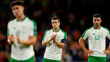Republic of Ireland's Seamus Coleman applauds their fans after the match in Cardiff.   Action Images via Reuters/Andrew Boyers