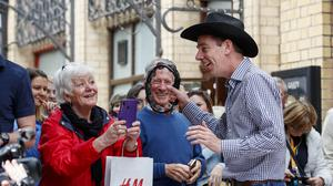 01/05/2019 Ryan Tubridy pictured with Gertie O'Leary from Donadea Co Kildare as he performed with country star Cliona Hagan outside the Gaiety Theatre ahead of the RTÉ Late Late country Special this Friday. Picture Andres Poveda