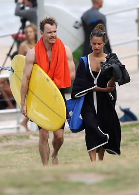 Michael Fassbender has breakfast with friends after surfing on Bondi Beach. Sydney, Australia. Picture: INFphoto.com