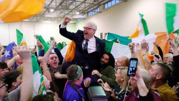 Top of the poll: Sinn Féin's Thomas Gould celebrates his election in Cork North Central. Photo: Yui Mok/PA Wire