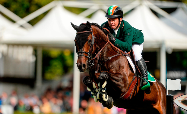 Cian O'Connor on Good Luck jumps a fence at the RDS yesterday Picture: Sportsfile