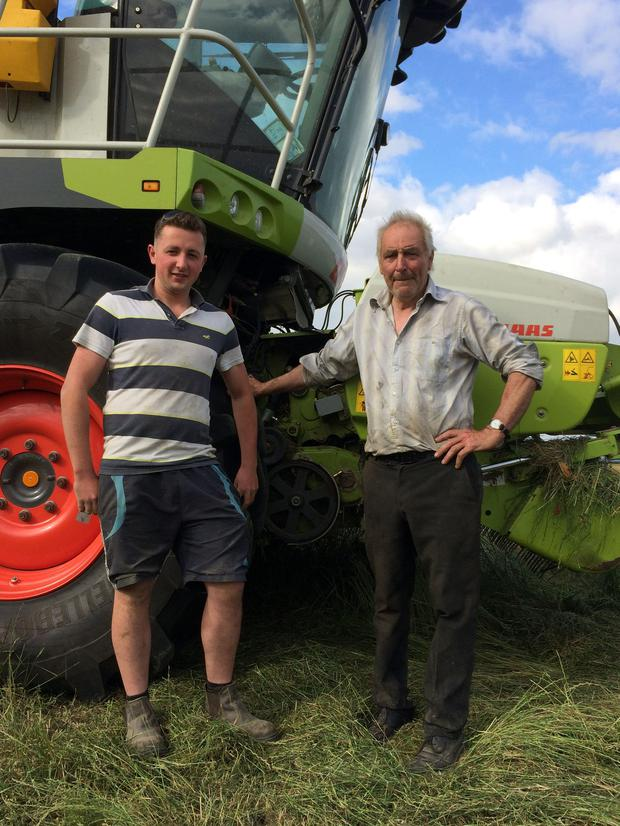 Waterford-based contractor Tom Kirwan (right) takes a break with forage harvester driver Kieran Dunphy