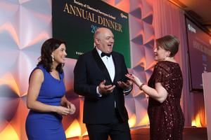 At the Society of Chartered Surveyors Ireland annual dinner were (from left) the society's CEO Shirley Coulter, host Dara Ó Briain, and the society's President Johanna Gill