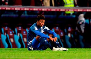 Birmingham City's Demarai Gray sits dejected at the final whistle