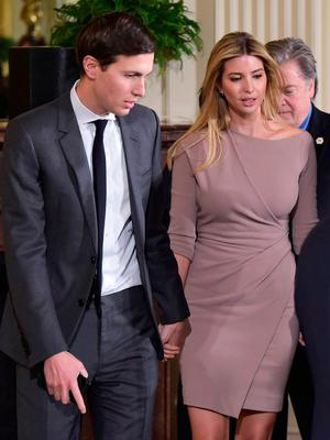 Jared Kushner (L), White House senior adviser, and his wife Ivanka Trump arrive for a joint press conference by US President Donald Trump and Japanese Prime Minister Shinzo Abe on February 10, 2017, at the White House in Washington, DC. / AFP PHOTO / MANDEL NGANMANDEL NGAN/AFP/Getty Images
