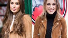 Roz Purcell (left) and Amy Huberman (right) in brown suede jackets