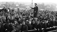 Peace maker: John Hume leads a large civil rights protest in Derry in 1968 as he diverts it away from confrontation with police. Photo: Trevor McBride