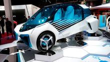 A Toyota FGV Plus concept car on display at the Paris Motor Show in Paris, France, Thursday, Sept. 29, 2016.  (AP Photo/Michel Euler)