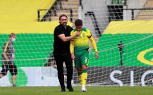 Norwich manager Daniel Farke with Max Aarons after the final whistle (Ian Walton/NMC Pool/PA)