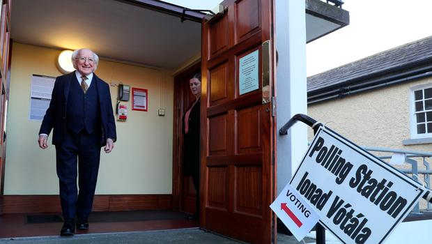 President Michael D Higgins leaving the polling station at St Mary's Hospital in Phoenix Park, Dublin after casting his vote in the Irish General Election. Brian Lawless/PA Wire