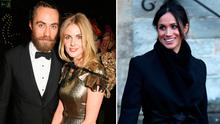 James Middleton and Donna Air, left, and Meghan Markle, right